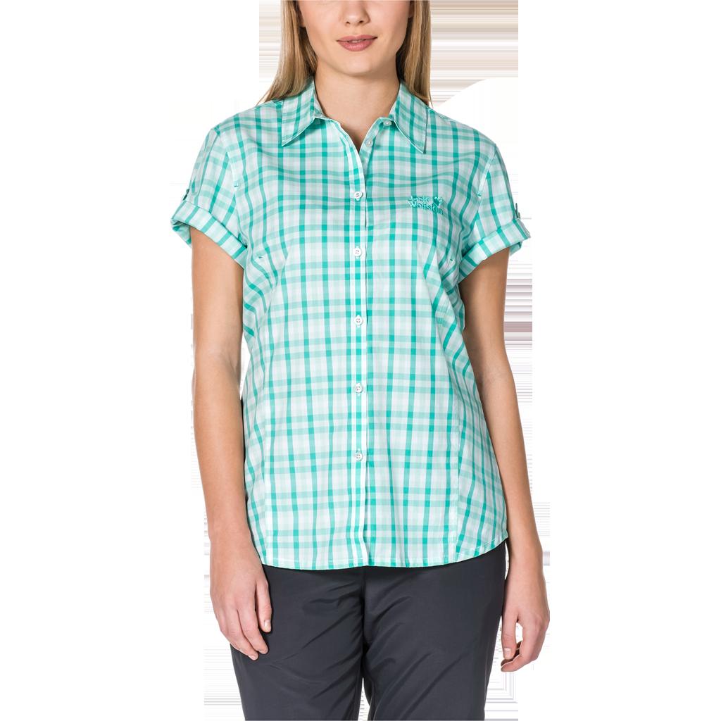 Jack Wolfskin River Shirt Women - pool blue checks, Größe XL